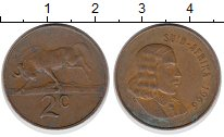 Изображение Дешевые монеты ЮАР 2 цента 1966 Бронза VF