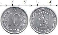 Изображение Дешевые монеты Чехословакия 10 хеллеров 1969 Алюминий AUNC