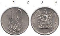 Изображение Дешевые монеты ЮАР 10 центов 1970 Никель AUNC