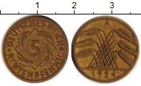 Изображение Дешевые монеты Веймарская республика 5 пфеннигов 1924 Медь VF