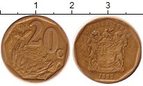 Изображение Мелочь ЮАР 20 центов 0 Латунь XF Цветы