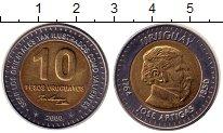 Изображение Монеты Уругвай 10 песо 2000 Биметалл XF Артигас
