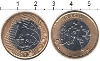 Изображение Монеты Бразилия 1 реал 2015 Биметалл UNC Олимпиада 2016 в Рио