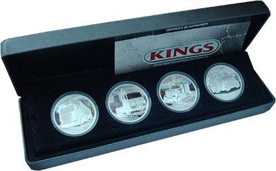 Изображение Подарочные монеты Тувалу Короли дороги 2010 Серебро Proof Набор из четырех мон