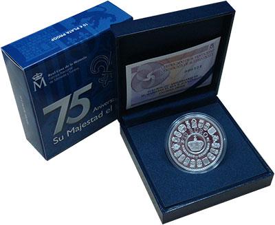 Изображение Подарочные монеты Испания 10 евро 2013 Серебро Proof 75 лет королю Испани