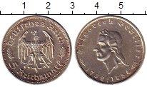 Изображение Монеты Третий Рейх 5 марок 1934 Серебро XF+ Фридрих Шиллер F