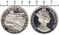 Изображение Монеты Гибралтар 1 крона 1991 Серебро Proof- Олимпийские игры,пры