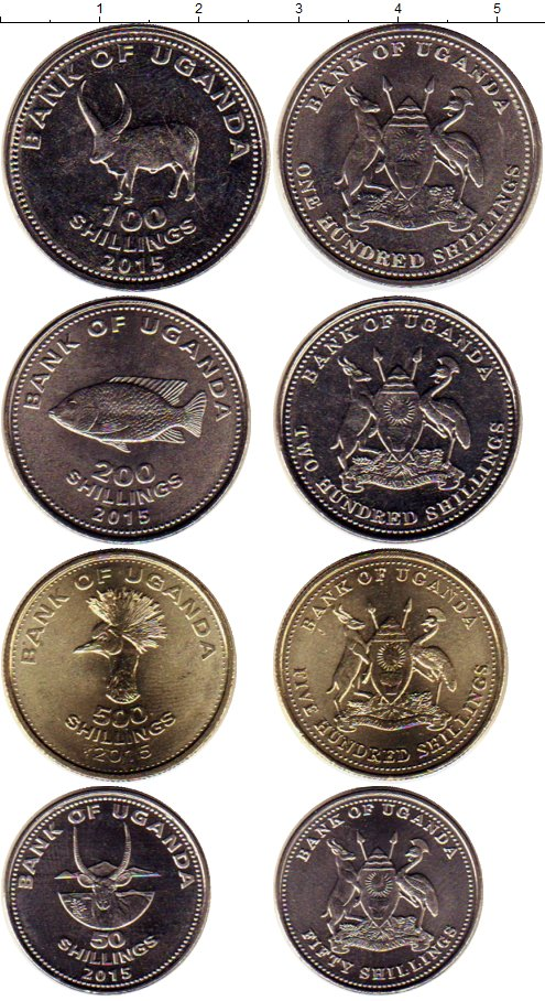 Картинка Наборы монет Уганда Набор 2015 года  2017