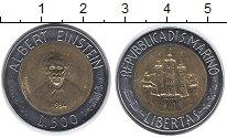 Изображение Монеты Сан-Марино 500 лир 1984 Биметалл UNC- Альберт  Эйнштейн