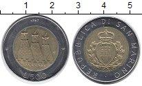 Изображение Монеты Сан-Марино 500 лир 1987 Биметалл UNC- Герб