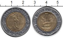 Изображение Монеты Сан-Марино 500 лир 1995 Биметалл UNC- ФАО