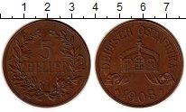 Изображение Монеты Германия Немецкая Африка 5 геллеров 1908 Бронза XF