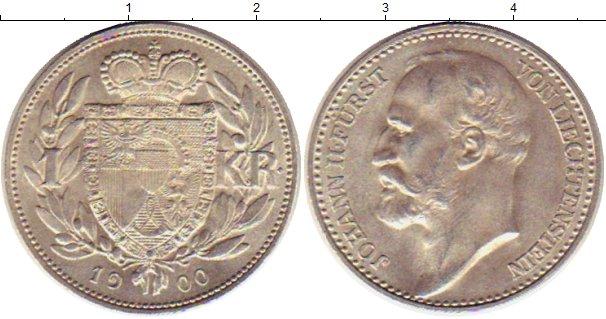 Картинка Монеты Лихтенштейн 1 крона Серебро 1900