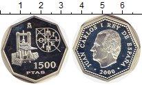 Изображение Монеты Испания 1500 песет 2000 Серебро Proof Милленниум