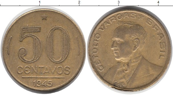 Картинка Монеты Бразилия 50 сентаво Латунь 1945