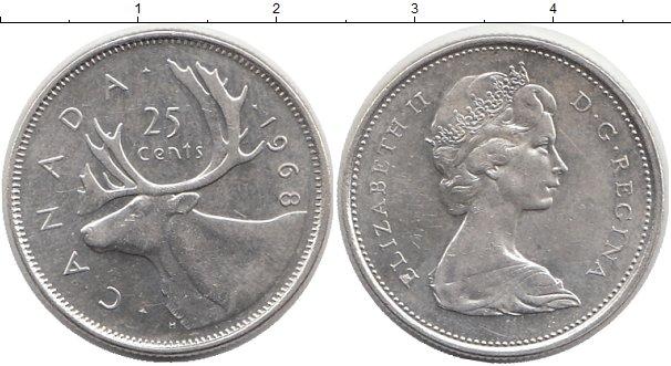 Картинка Монеты Канада 25 центов Серебро 1968