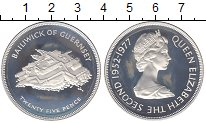 Изображение Монеты Гернси 25 пенсов 1977 Серебро Proof