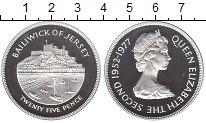 Изображение Монеты Остров Джерси 25 пенсов 1977 Серебро Proof