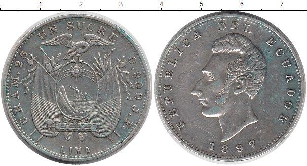Картинка Монеты Эквадор 1 сукре Серебро 1897