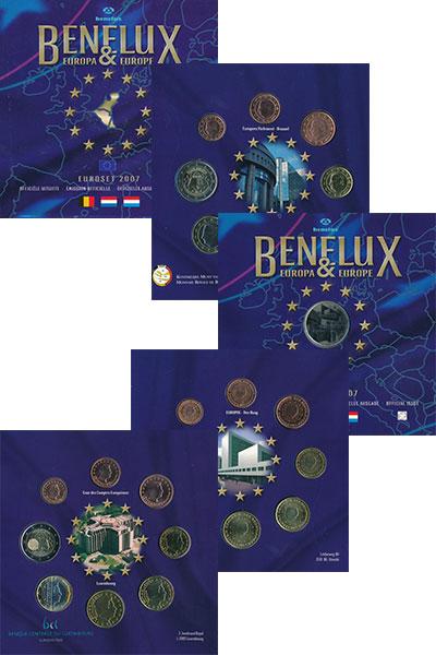 Изображение Подарочные монеты Бенилюкс Евронабор 2007 года 2007  UNC В набор входят евром