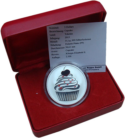 Изображение Подарочные монеты Токелау 5 долларов 2015 Серебро Proof Рождество.Кекс. Сере