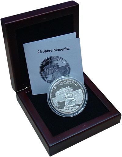 Изображение Подарочные монеты Самоа 10 долларов 2014 Серебро Proof 25 лет падения Берли