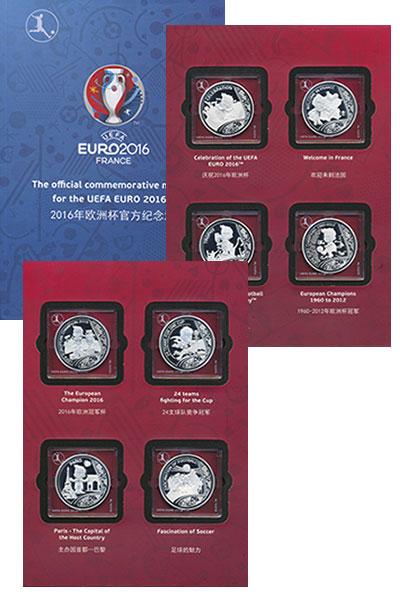 Изображение Подарочные монеты Франция Чемпионат Европы по футболу 2016 Посеребрение Proof Набор из восьми меда