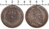 Изображение Монеты Германия Вюртемберг 5 марок 1875 Серебро XF-