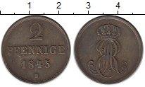 Изображение Монеты Германия Ганновер 2 пфеннига 1845 Медь XF