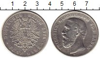 Изображение Монеты Германия Баден 5 марок 1876 Серебро VF