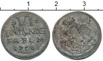 Изображение Монеты Германия Анхальт-Бембург 6 пфеннигов 1758 Серебро XF-