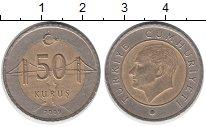 Изображение Дешевые монеты Турция 50 куруш 2009 Биметалл XF