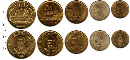 Изображение Наборы монет Парагвай Парагвай 1992-1996 0  UNC- В наборе 5 монет ном