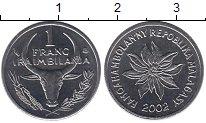 Изображение Мелочь Мадагаскар 1 франк 2002 Медно-никель UNC-