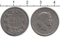 Изображение Монеты Швейцария 20 рапп 1884 Медно-никель XF