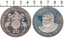 Изображение Монеты Теркc и Кайкос 20 крон 1974 Серебро Proof-