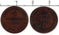 Изображение Монеты Германия Мекленбург-Шверин 1 пфенниг 1872 Медь XF