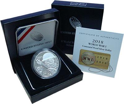 Изображение Монеты США 1 доллар 2018 Серебро Proof 100 лет Окончания Пе