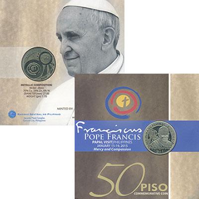 Изображение Подарочные монеты Филиппины 50 песо 2015 Латунь UNC Визит Франциска на Ф