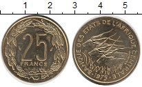 Изображение Монеты Центральная Африка 25 франков 1975 Латунь UNC-