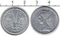 Монета Французская Экваториальная Африка 1 франк Алюминий 1948 UNC- фото