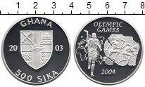 Изображение Монеты Гана 500 сика 2003 Серебро Proof-