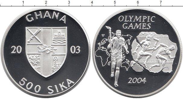 Картинка Монеты Гана 500 сика Серебро 2003