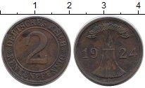 Изображение Дешевые монеты Веймарская республика 2 пфеннига 1924 Медь VF+
