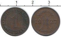 Изображение Дешевые монеты Германия 1 пфенниг 1927 Медно-никель VF