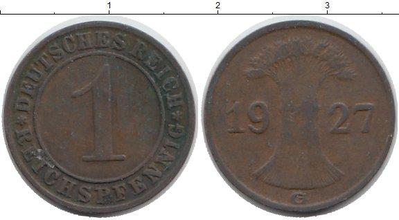 Картинка Дешевые монеты Германия 1 пфенниг Медно-никель 1927