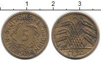Изображение Дешевые монеты Германия 5 пфеннигов 1925 Латунь XF