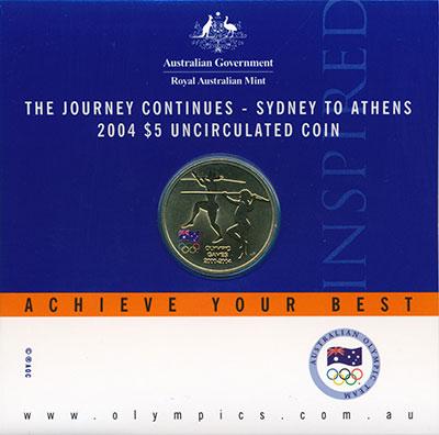 Изображение Подарочные монеты Австралия 5 долларов 2004 Латунь UNC Олимпийские игры