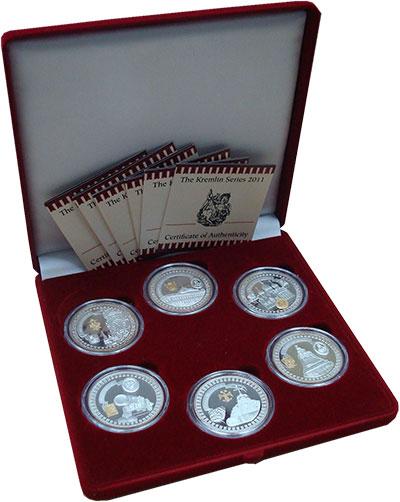 Изображение Подарочные монеты Либерия Московский кремль 2011 Серебро Proof- Набор из шести монет