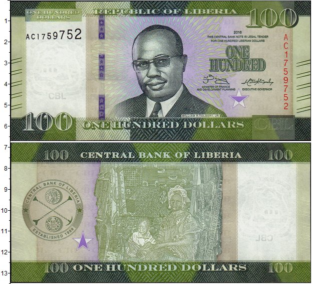 Картинка Банкноты Либерия 100 долларов  2016